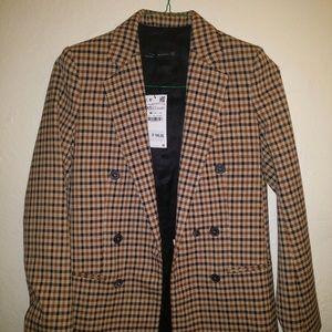 Zara Women Checked Blazer Jacket Size XS